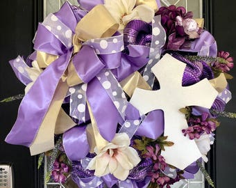Easter Wreath, Easter Decoration, Door Hanger, Wreath for door, Front door wreath, Deco Mesh Wreath, Purple Easter Wreath, Ready to Ship