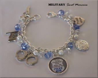 Police Mom Police Officer Mom, blue Beaded Police Charm Bracelet, Police Mom Gift, Police Mom, Proud Mom Charm Jewelry Bracelet, Police Gift