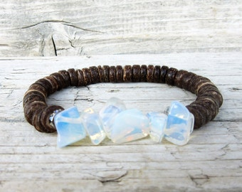 Coconut Moonstone Bracelet, Stacking Bracelet, Energy Bracelet, Meditation Bracelet, Boho Jewelry, Christmas Gift for Her
