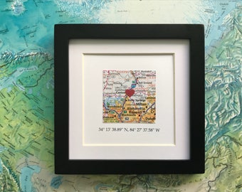 Framed Map & GPS Coordinates - Custom Map Gift - Latitude Longitude - Engagement Gift - Gallery Wall Art - 5x5 Frame - Valentine's Day Gift