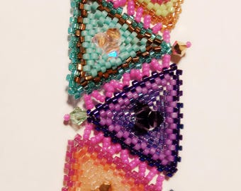 Triangle Bracelet / Rainbow Bracelet / Beaded Bracelet / Boho Bracelet / Bohemian Bracelet / Geometric Bracelet / Swarovski Crystal Bracelet