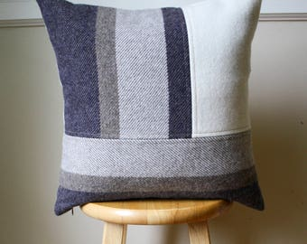 Neutral Gray Stripe & Cream Color Block Pendleton Wool Pillow Cover - 18x18