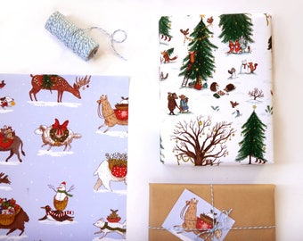 Gift Wrap Set/ Winter Woodland/ Christmas Animals/ 4 Sheets