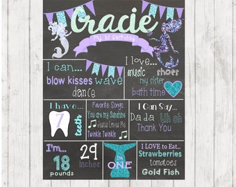Printable Mermaid Birthday Chalkboard, First birthday Chalkboard, Mermaid Birthday Sign, 2nd Birthday Chalkboard, Mermaid Sign