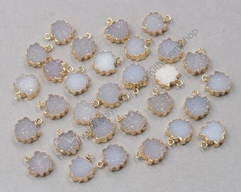 14mm Leaf Agate Druzy Pendants -- With Electroplated Gold Edge Druzzy Drusy Geode Dainty Charms Supplies Handmade YHA-317