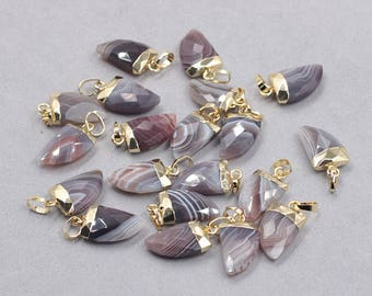 16mm Faceted Botswana Agate Small Horn Pendants -- With Electroplated Gold Edge Gemstone Charms Wholesale Supplies YHA-328