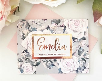 Personalized Bridesmaid Cards Bridesmaid Proposal Cards Will you be my Bridesmaid Cards Rose Gold & Blush Pink Bridesmaid Cards (EB3261RSG)