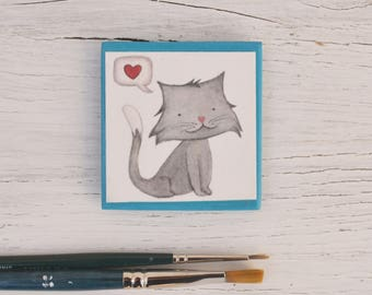 "Fridge Magnet ""Cat fall in love"" - Magnetic illustrations, gift idea with paint printed on paper"