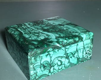 "Malachite Jewelry Box 3 3/4"",Green,Healing Stone,1 3/4 lb,Protection Stone,EMF,Heart Chakra, Card Holder,Hand Carved, Zaire Africa,Lapidary"