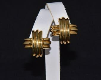 "Tiffany & Co Earrings - Fine Gold Earrings - Authentic Tiffany Co. 18K Solid Gold Large X Criss Cross Omega Clip On Earrings 1"" w/ Box"