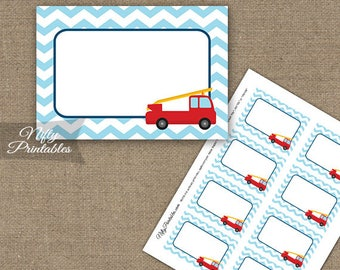 Fire Truck Labels - Fire Engine Food Labels Party Decor - Printable Fireman Nametags - Firetruck Birthday Favor Tag Labels FIR