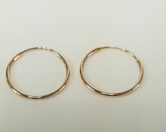 10mm 12mm 13mm Estate 14k Rose Gold Small Medium 1mm Endless Hoops Earrings Hoop GE64