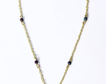 Hematite and Gold Dainty Layering Necklace
