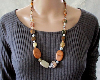 Earthy Jewellery, Boho Gemstone Necklace, Handmade Stone Necklace, Semi Precious, Beaded Jewellery, Birthstone, Natural Tones, Gift for Her