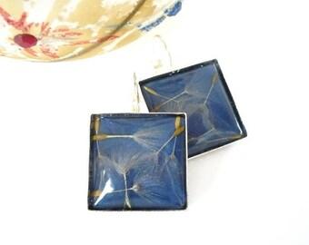 Dandelion Earrings - Dandelion Jewelry - Real Flower Earrings - Resin Flower Earrings - Blue Dangle Earrings - Resin Dandelion Earrings