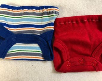 Baby Doll Diaper Covers, Panty, 15 inch AG Bitty Baby Clothes, Fits 16 inch Cabbage Patch Doll, SET of 2 for 3.00, Colorful Stripes & Red