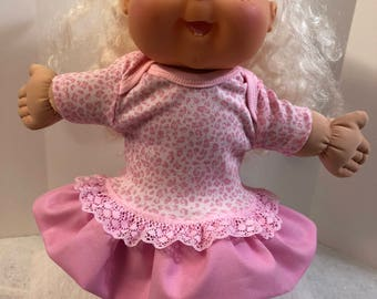 "Cabbage Patch 14 inch BABY or Smaller 14 inch Doll Clothes, Cool PINK ""ANIMAL Print"" Ruffle & Lace Trim Dress, Cabbage Patch Doll Clothes"