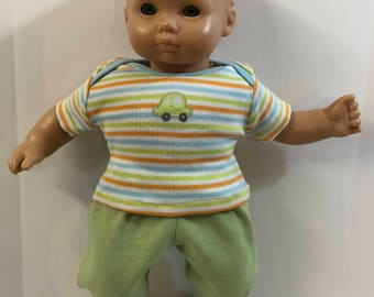 "BOY 15 inch Bitty Baby Clothes, 2-Piece Outfit, Cute ""CAR"" -Colorful STRIPED Top, Green Pants, 15 inch American Doll Bitty Boy, MatchBox Car"