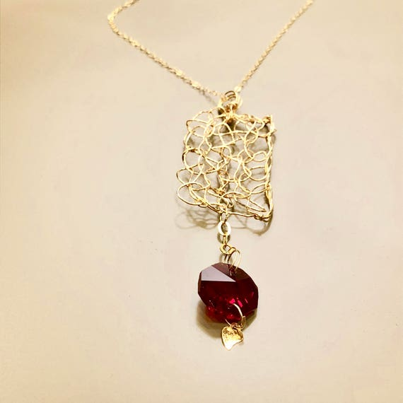 Necklace - gold filled wire crochet rectangular pendant with red chandelier crystal hexagonal prism and gold plated heart