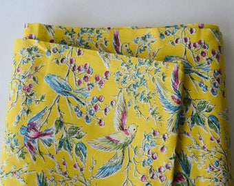 BTY 1960s Cotton Botanical Bird Fabric Yellow Blue Print  -141-L5