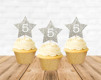 5th Birthday Cupcake Toppers, Fifth Birthday Cupcake Toppers, Star Cupcake Toppers, Cake Topper, Cupcake Decorations, Cupcake Picks