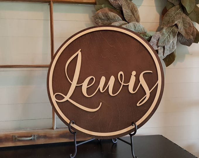 Wooden Name Round - Wedding Sign - Personalized Gift - Wedding Gift - Housewarming Gift - Anniversary Gift -