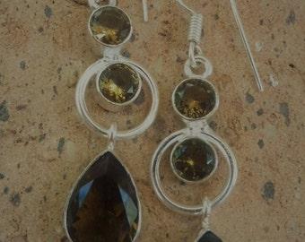 Smoky Topaz Earrings, Smoky Quartz Earrings, Mixed Gemstone Earrings, Hypoallergenic Sterling Silver Earrings, Jewelry Trends, Gift Idea