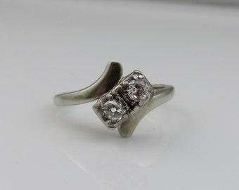 Vintage 18k Jabel Two Diamond Wedding Ring.