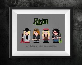 Poison Modern Cross Stitch Pattern | Best Cross Stitch | Rock Band Cross Stitch | Rock And Roll Cross Stitch | Metal Band, 80's Cross Stitch