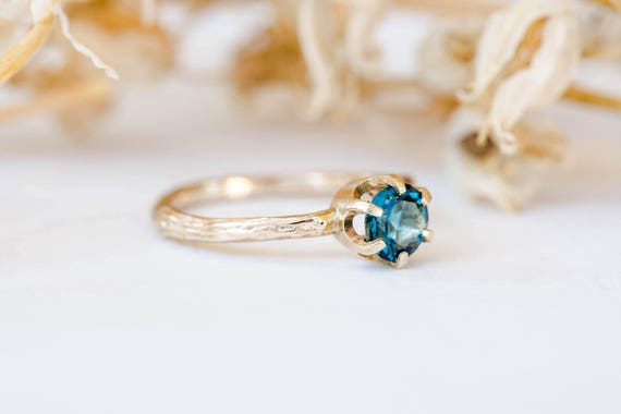 14k gold twig gemstone engagement ring, london blue topaz engagement ring, moissanite morganite twig engagement ring, garnet engagement ring