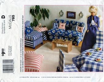 McCalls 785, Fashion Doll Furniture, Barbie Doll Bedroom, Dressing Room, Livingroom, Dining Room, Doll Craft, Sewing Pattern, McCalls 8140
