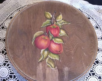 Antique Vintage Wooden Hand-painted Round Cheese Box