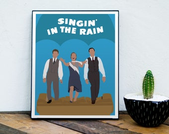 Singin' in the Rain Poster, Debbie Reynolds, Gene Kelly, Donald O'Connor, 1950s Movie, Musical, Classic Movie, Minimalist Movie Poster