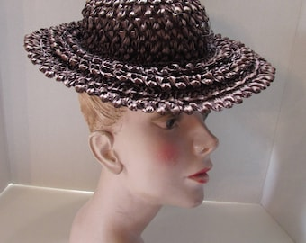 Early Straw Hat Chocolate Brown Hat Chipped Straw Hat Ladies Vintage Hat Adolescent Hat Late 1800 Hat Early 1900 Hat Vintage Hats