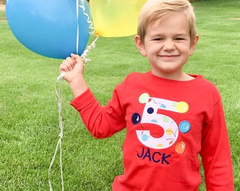 Boy's Birthday Shirt with Bouncing Balls, Number and Embroidered Name