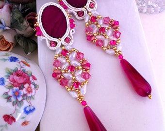Orecchini rosa, orecchini fucsia, pendenti, swarovski, goccia agata, madreperla, handmade from italy, orecchini eleganti, orecchini lunghi