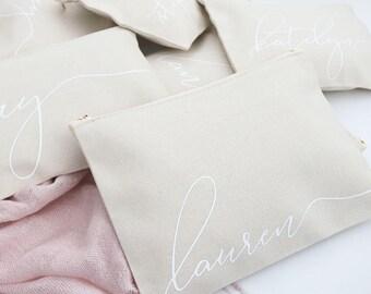 Set of 6 Script Cosmetic Bags - Monogram Natural Gold - Makeup Bag, Custom Cosmetic Bag, Personalized Toiletry Bags