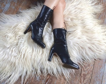 Black Italian leather lace-up witchy ankle boots