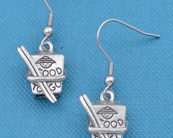 Chinese take out earrings in silver pewter. Chinese take out jewelry.  Chinese take out gifts.  Chinese take out.  Silver earrings.