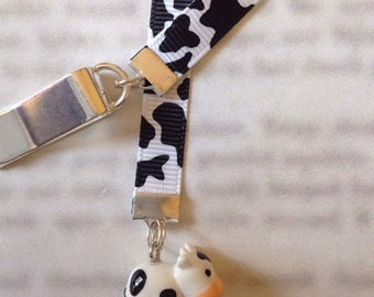 ON SALE Cow bookmark/ Cute Cow / Cute Bookmark / Attach to book cover then mark the page with the ribbon. Never lose your bookmark!