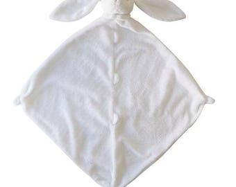 Monogrammed White Bunny Lovie / Angel Dear / Personalized Blankie / Security Blanket / Baby Blankie Gift