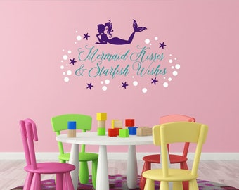 Mermaid Wall Decal - Mermaid Kisses Starfish Wishes - Baby Girl Nursery - Little Girl Mermaid - Mermaid Kisses Decal - Starfish Wishes Decal