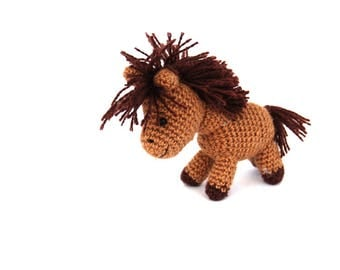 amigurumi horse, crochet horse miniature, horse toy, gift for boy, stuffed horse mini, tiny horse doll, farm animal doll, collectible horse
