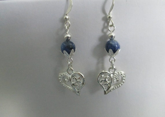 Sodalite and Heart Charm Earrings E6161716