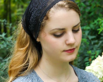 Evintage Veils~ So Soft Headwrap Embroidered Black or Blush Beige Stretch Lace Headband Kerchief Tie-style Head Covering Church Veil