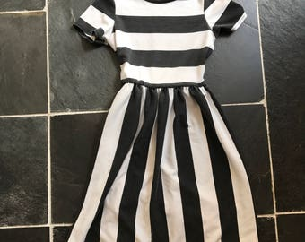 90s charcoal and white striped mini dress UK 6 US 2 XS