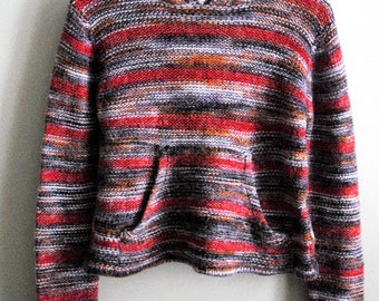 Vintage 70s Space Knit Wool Cropped Sweater