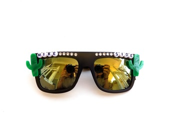 """Phish """"Mike Side"""" cactus decorated Groovy Glasses, funky Phish frames, Mike Side Right Side"""