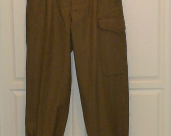1953 Australian Wool Army Pants with Great Style with High Waist, Button Fly Buckles and Button Waist