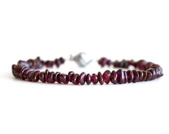 Red Garnet Bracelet/ Raw Garnet Bracelet/ Gemstone Chip Bracelet/ January Birthstone Jewelry/ Raw Gemstone Bracelet